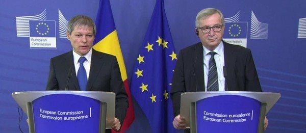 Punctul de presa sustinut de presedintele Comisiei Europene, Jean-Claude Juncker, si prim-ministrul Romaniei, Dacian Ciolos