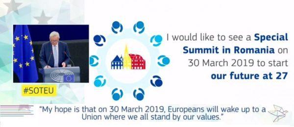 Președintele Jean-Claude Juncker : viitorul Uniunii Europene, după Brexit, va fi decis la Sibiu | Video